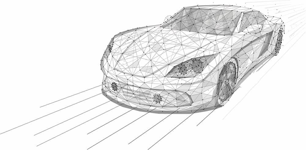 wireframe sports car